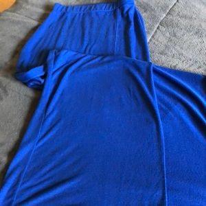 Royal Blue Express Maxi Skirt with High Slit